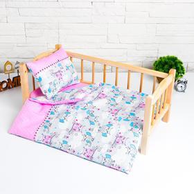 """Кукольное постельное""""Совята в облаках""""х/б,простынь 46*36,одеяло,46*36,подушка 23*17"""