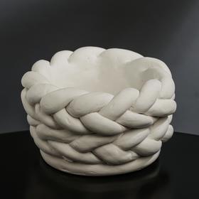 Кашпо гипсовое «Вязка», белое 13 х 7,5