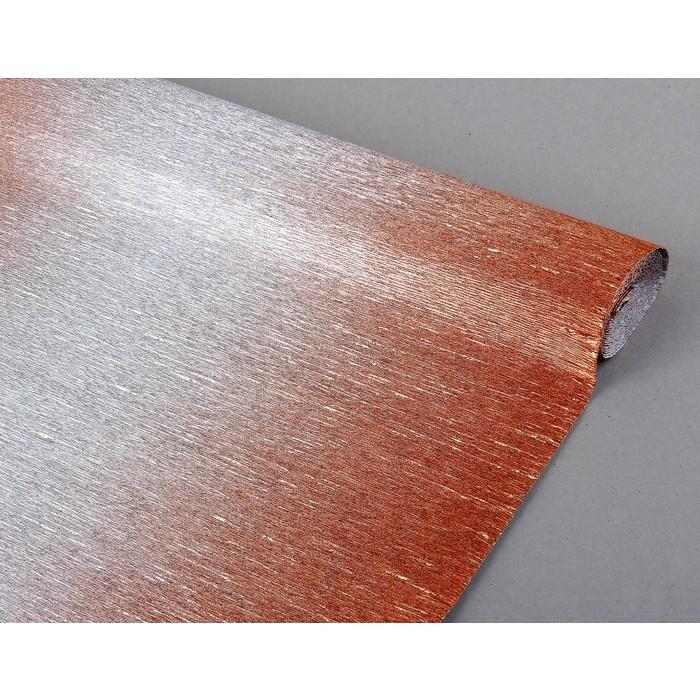 креп для цветов металл переход красный-серебро 50см*2,5м 802/4