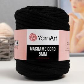 "Пряжа ""Macrame Cord""  60% хлопок, 40% вискоза/полиэстер 5 мм 85м/500гр (750 чёрный)"