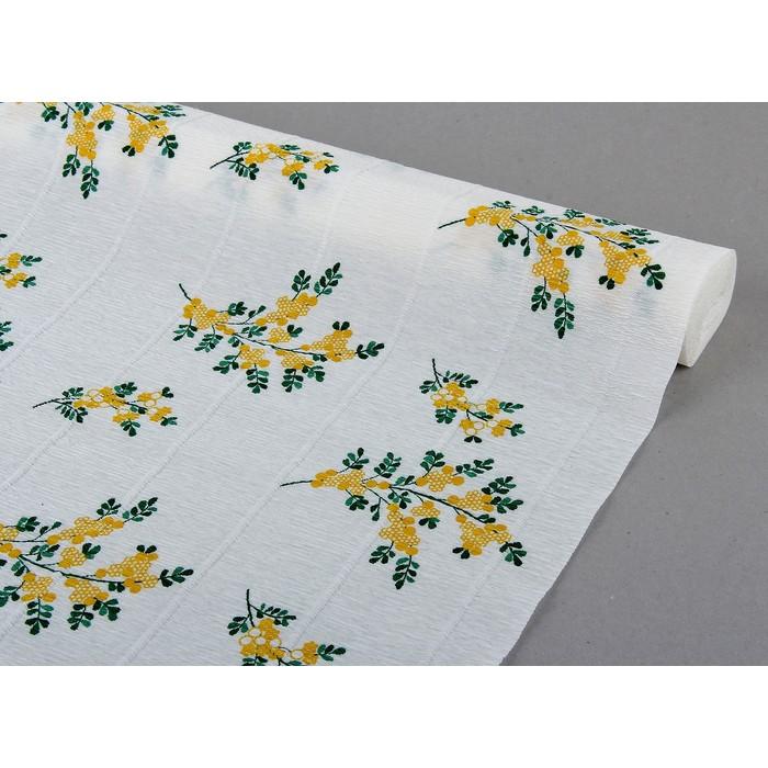 креп для цветов простой  с рисунком Мимоза 50 см*2,5 м 500/2
