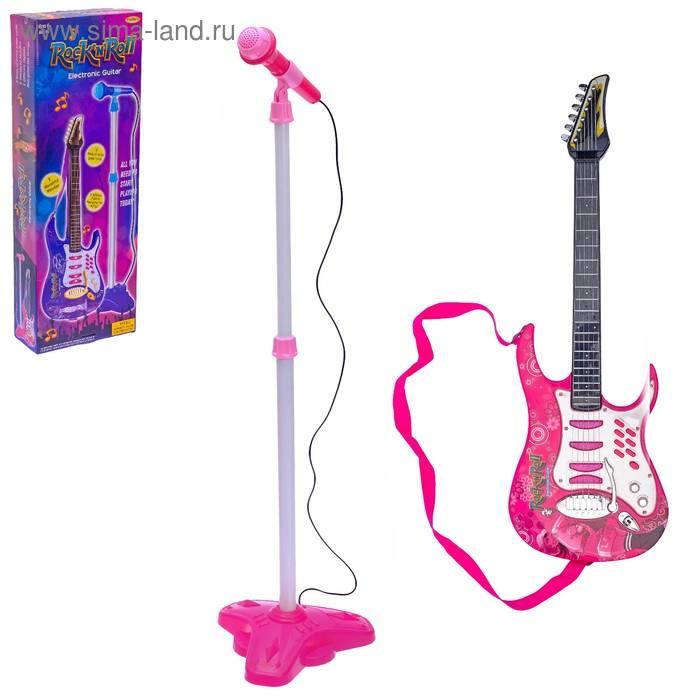 """Гитара """"Рок-Н-Ролл"""" с микрофоном, звуковые эффекты, работает от батареек, МИКС"""