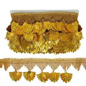 Тесьма золотая с висюльками, 7,5 см, в рулоне 10 м