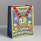 Пакет ламинированный «медаль с лентой С ДР 18 лет», MS 18 × 23 × 10 см