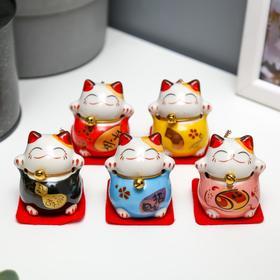 "Сувенир кот керамика ""Манэки-нэко"" h=4,5 см (набор 5 шт)"