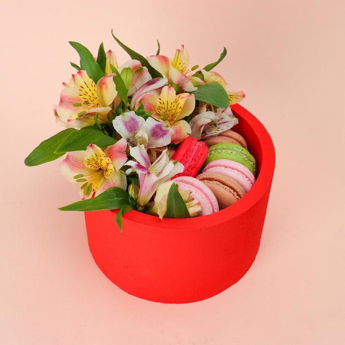"""Пенобокс 16×16×10 см кашпо для цветов и подарков """"Круг"""", красный - фото 858522"""