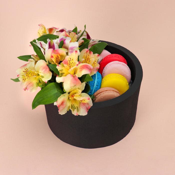 """Пенобокс 16×16×10 см кашпо для цветов и подарков """"Круг"""", чёрный - фото 858525"""