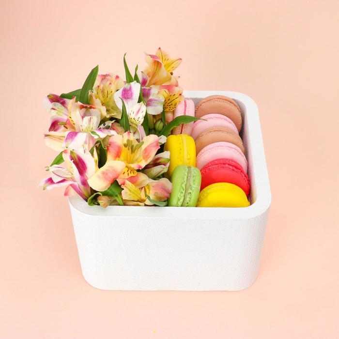 """Пенобокс 16×16×10 см кашпо для цветов и подарков """"Квадрат"""", белый - фото 858534"""
