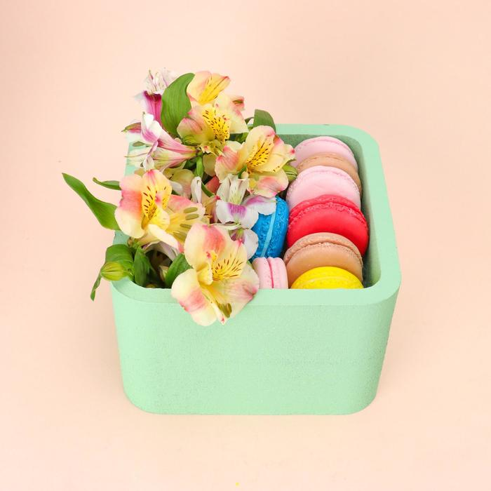 """Пенобокс 16×16×10 см кашпо для цветов и подарков """"Квадрат"""", зелёный - фото 858537"""