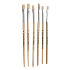 Brush set bristle, flat, 6 PCs.: №4, 6, 8, 10, 12, 14
