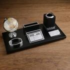 Набор настольный «Орёл»: глобус, подставка для ручек, визиток, блок для бумаги, держатель, лоток для скрепок