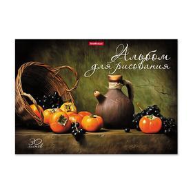 """Альбом для рисования на клею А4, 30 листов ErichKrause """"Хурма и виноград"""", жесткая подложка, блок 120 г/м2"""