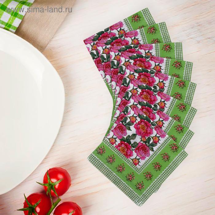 Салфетки бумажные (набор 20 шт) 33*33 см Цветочки
