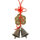 Bells on a sling with a knot of happiness and the six coins in bronze