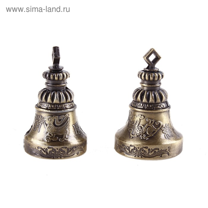"""Колокольчик (набор 2 шт) """"Символ любви Инь и Ян"""" под бронзу"""