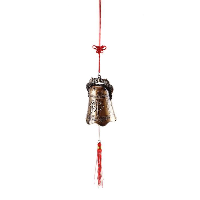 """Колокольчик на подвеске с узлом счастья """"Благополучие"""" под бронзу"""