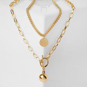 """Кулон """"Цепь"""" шар, медальон, цвет золото, L=65 см"""
