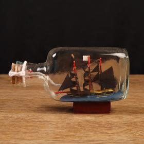 Корабль сувенирный, в бутылке, горизонт. 13*4*7см