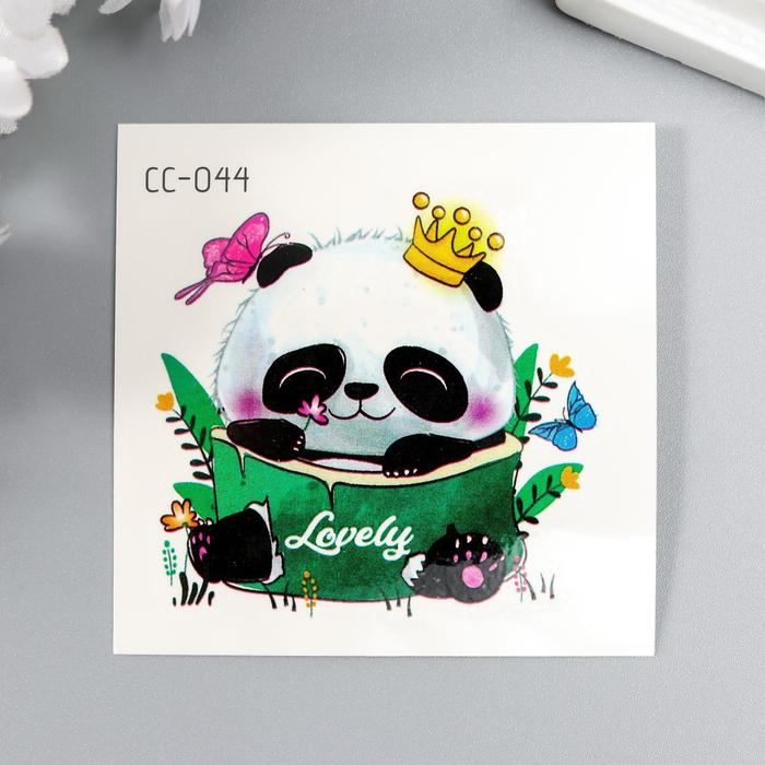 """Татуировка на тело цветная """"Панда в короне"""" 6х6 см"""