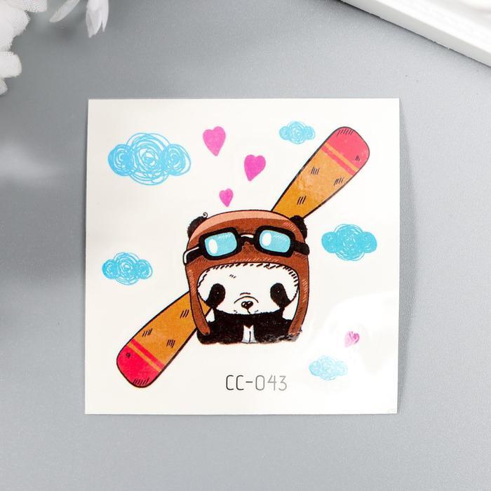 """Татуировка на тело цветная """"Панда-лётчик"""" 6х6 см"""