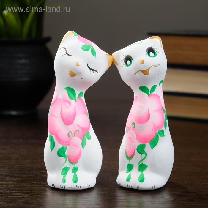 """Сувенир Набор """"Love Коты"""" с розами 2шт, белые"""