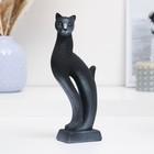 """Фигура """"Кошка Рысь"""" чёрная с серебром 7 × 5 × 21 см 082"""