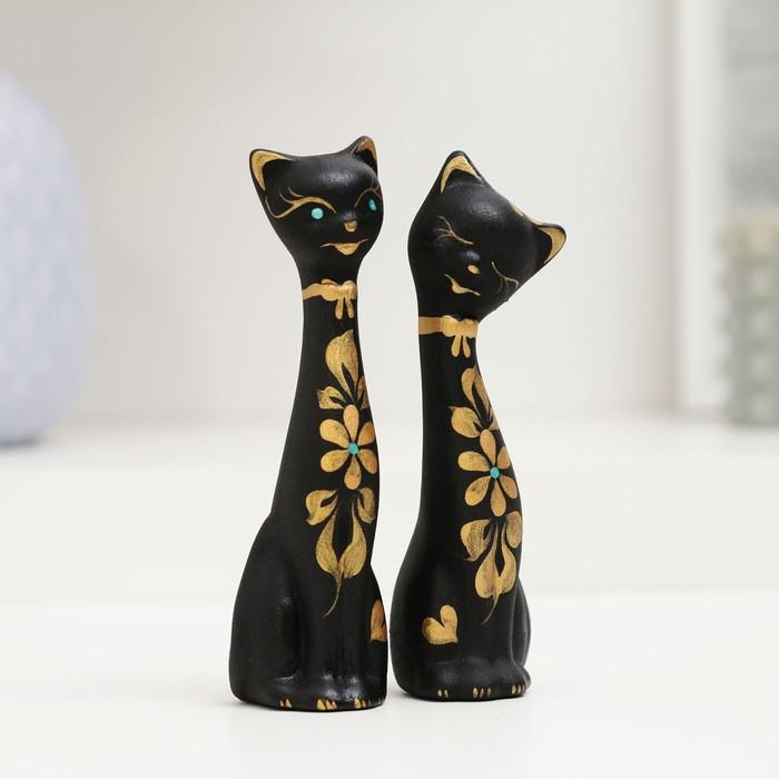 """Фигура """"Love Коты"""" мини набор 2шт черные 4×4×11см 080 - фото 797598477"""