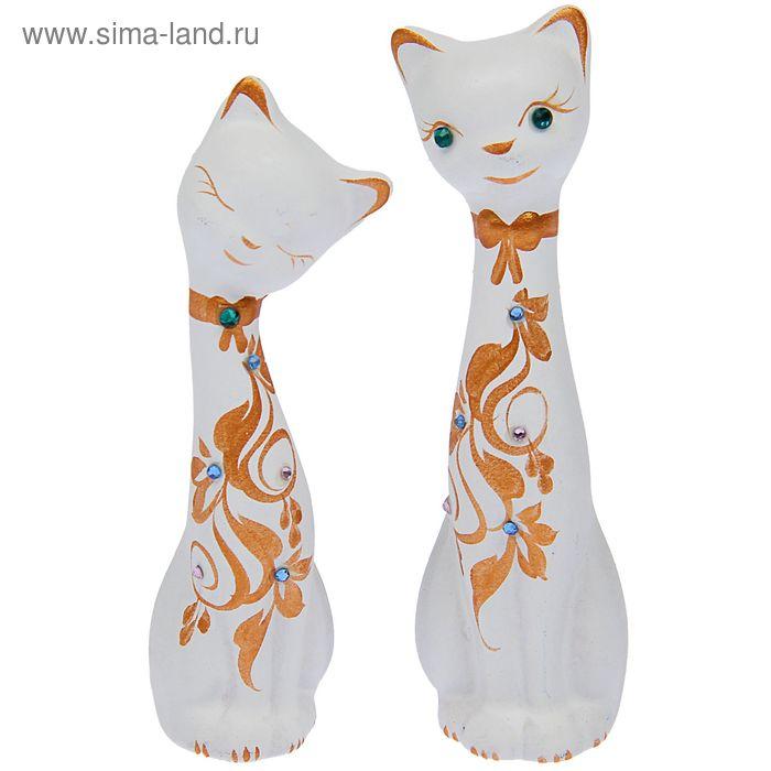 """Сувенир Набор """"Love Коты"""" малые со стразами, 2шт белые"""