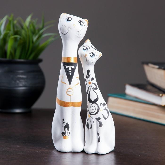 """Фигура """"Love Коты"""" малые набор 2шт белые 5×8×18см 040"""