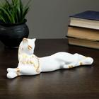 """Фигура """"Кошка Багира"""" малая лежачая роспись белая 010 7 × 27 × 10 см"""