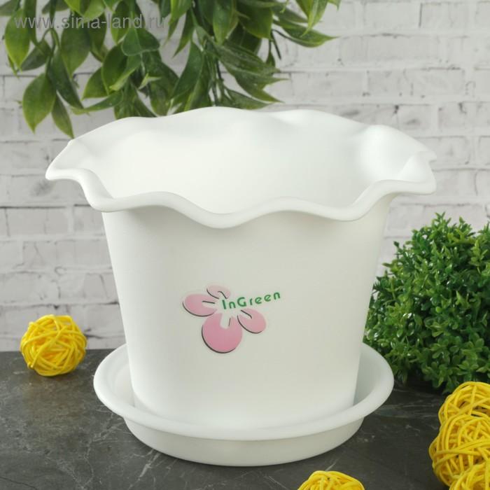 """Горшок для цветов с поддоном, d=16 см """"Бали"""", цвет белый"""