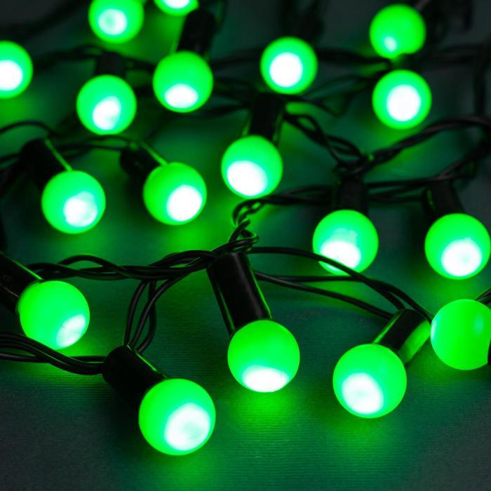 """Гирлянда """"Нить"""" 10 м с насадками """"Шарики 1.5 см"""", IP44, тёмная нить, 100 LED, свечение зелёное, 8 режимов, 220 В"""