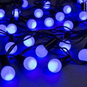 """Гирлянда """"Нить"""" 10 м с насадками """"Шарики 1.5 см"""", IP44, тёмная нить, 100 LED, свечение синее, 8 режимов, 220 В"""