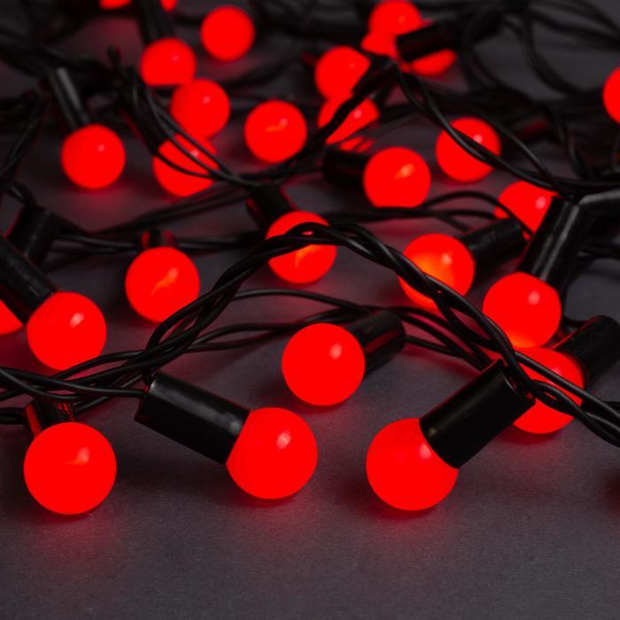 """Гирлянда """"Нить"""" 10 м с насадками """"Шарики 1.5 см"""", IP44, тёмная нить, 100 LED, свечение красное, 8 режимов, 220 В"""