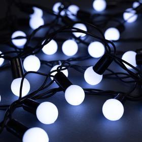 """Гирлянда """"Нить"""" 10 м с насадками """"Шарики 1.5 см"""", IP44, тёмная нить, 100 LED, свечение белое, 8 режимов, 220 В"""