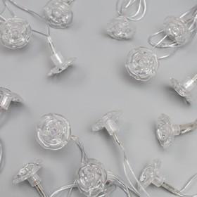 """Гирлянда """"Нить"""" 5 м с насадками """"Цветочки"""", IP20, прозрачная нить, 20 LED, свечение мульти, мигание, 220 В"""