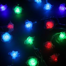"""Гирлянда """"Нить"""" 5 м с насадками """"Розы большие"""", IP20, прозрачная нить, 20 LED, свечение мульти, мигание, 220 В"""