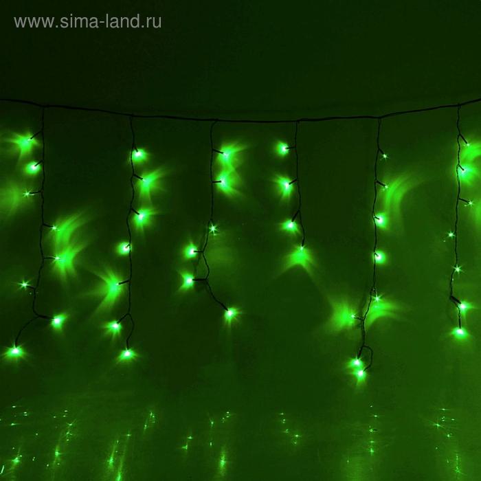 "Гирлянда ""Бахрома"" Ш:1,2 м, В:0,6 м, нить темная, LED-60-220V, контр. 8 р. ЗЕЛЕНЫЙ"