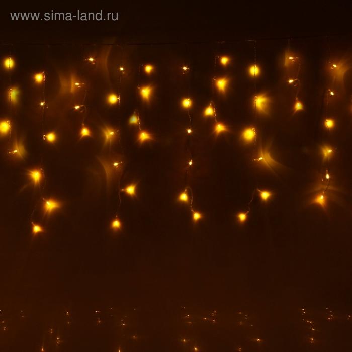 "Гирлянда ""Бахрома"" Ш:1,2 м, В:0,6 м, нить силикон, LED-60-220V, контр. 8 р. ЖЕЛТЫЙ"