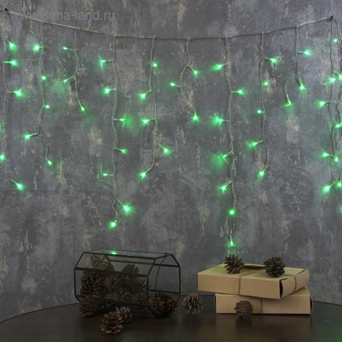 "Гирлянда ""Бахрома"" Ш:1,2 м, В:0,6 м, нить силикон, LED-60-220V, контр. 8 р. ЗЕЛЕНЫЙ"