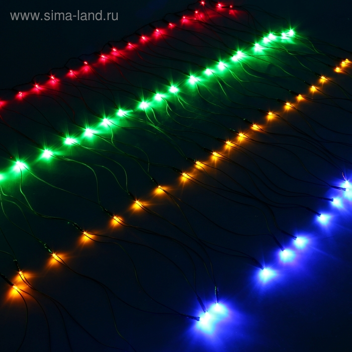 """Сетка"" Ш:1 м, В:0,7 м, нить темная, LED-96-220V, контр. 8 р, МУЛЬТИ"