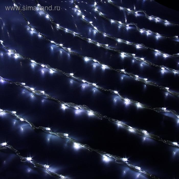 """Гирлянда """"Дождь"""" Ш:1,5 м, В:1 м, нить силикон, LED-300-220V, контр. 8 р, БЕЛЫЙ"""