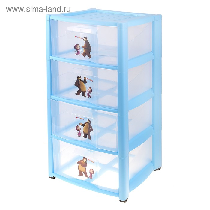 """Комод для игрушек """"Маша и Медведь"""" на колёсиках, 4 выдвижных ящика, цвет голубой"""