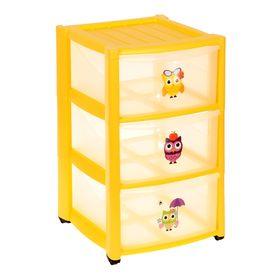Комод для игрушек на колёсиках, 3 выдвижных ящика с аппликацией, цвет жёлтый Ош
