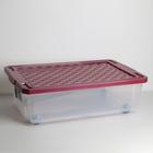 Ящик для хранения с крышкой, на роликах Optima, 30 л, 61×40,5×19,3 см, цвет МИКС - фото 308334762