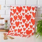 "Towel ""Ethel"" Red hearts 40x73cm, 100% cotton, twill 190 g / m2"