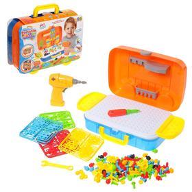 Конструктор в чемоданчике «Создавай и играй», с электрической дрелью, 258 деталей