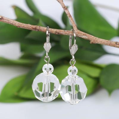 "Earrings ball No. 18 faceted ""Crystal"", color white"