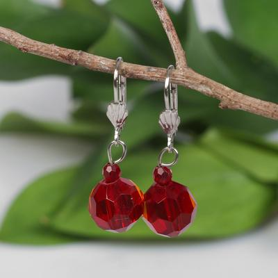 "Earrings ball No. 12 faceted ""Crystal"", color red"