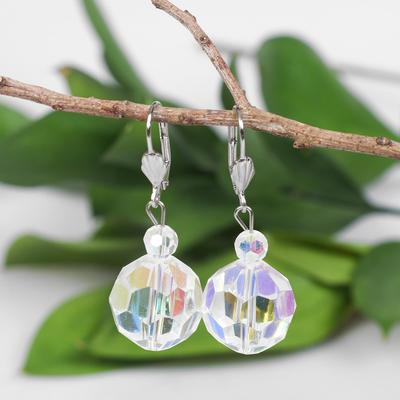 "Earrings ball No. 18 faceted ""Crystal"", rainbow color"